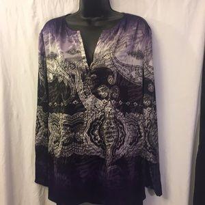Travelers By Chico's Tunic Purple/Black/White XL16